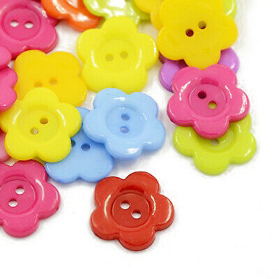 Packet 50+ Mixed Acrylic 16mm Flower 2-Holed Sew On Buttons HA07165