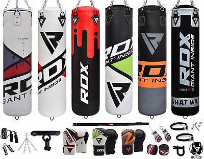 RDX Punch Bag Gloves Punching Boxing Bags Heavy Chains Unfilled 13pc US
