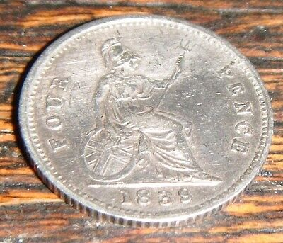 Victorian Four Pence Coin. 1839. Good Condition.