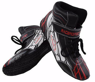 Race Shoes Mid Top Black Red White Graphics Mens Size 12 / Womens 14  Sfi 3.3/5