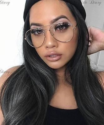 Fashion Blogger Large Silver Frame Clear Lens Oversized Aviator Glasses Trendy