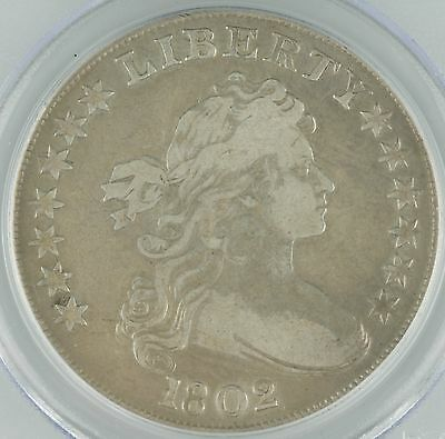 1802 US Draped Bust Dollar $1Graded by PCGS Genuine, Narrow Normal Date KM#32