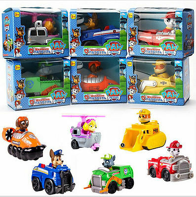 6pc/lot New Paw Patrol Pup Dog Racer Character Figure Kids Children's Toy Gift