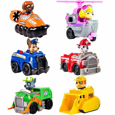 6pc/lot New Paw Patrol Pup Dog Racer Character Figure Kids Children's Toy Gift *