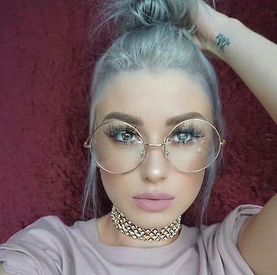 Oversized Clear Lens Fashion Glasses Metal Gold Frame Round Large Circle Nerdy