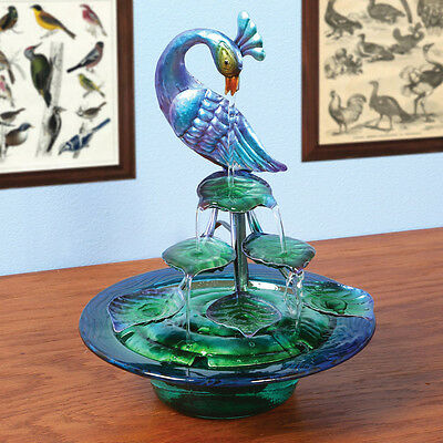 Decorative Glass And Metal Indoor Water Fountain - Peacock