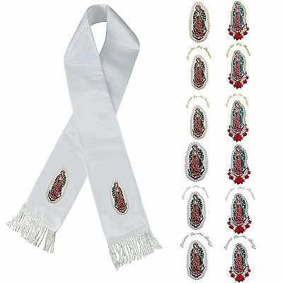 Color Lady of Guadalupe Embroidery Christening Stole Scarf Sash New Born 7 yrs