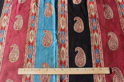 French Antique Hand Blocked Ethnic Paisley Wool Chalis Textile Fabric c1860