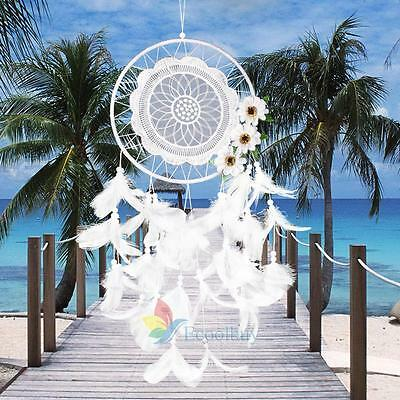 Handmade Lace Dream Catcher Feather Flower Hanging Decora Ornament Gift White #A