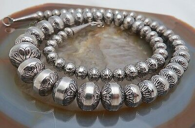 MAGNIFICENT Vintage NAVAJO PEARLS Sterling Silver STAMPED Bench Beads NECKLACE