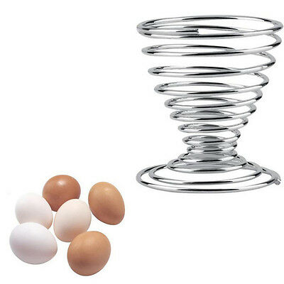 Stainless Steel Spring Wire Tray Boiled Egg Cups Holder Stand Storage Kitchen