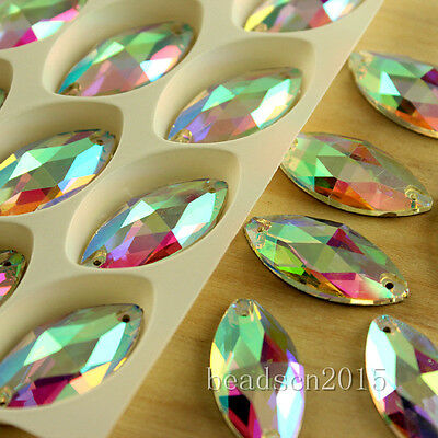 50pcs Clear AB navette sew on Glass Crystal Rhinestones Gemstones Flatback Y-pk