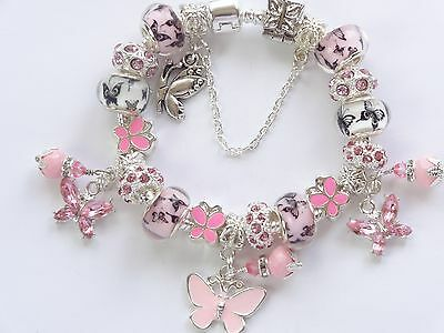 Girls Ladies Pink & White Butterfly European Bead Charm Bracelet