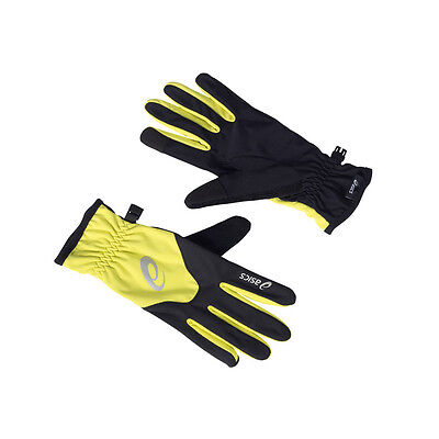 Asics Unisex Yellow Black Winter Warm Running Sports Gloves Work Out Mittens