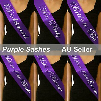 Purple Sashes White Text Hens Night Party Bridal Bride To Be Bridesmaid Wedding