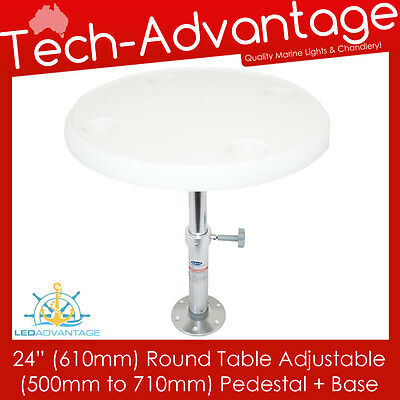"Boat White Removable 24"" (610Mm) Round Table Adjustable Height Pedestal & Base"