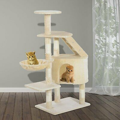 Pawhut Deluxe Cat Tree Condo Scratching Post Kitten Climb Activity Center 49""