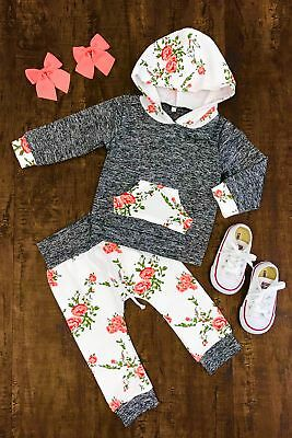 2Pcs Newborn Baby Boy Girl Kids Hooded Tops+Long Pants Floral Outfit Clothes Set