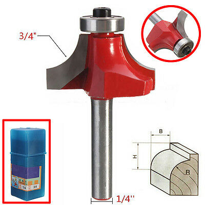 "1/4"" Shank 3/4"" Woodworking Tool Router Bit Radius Round Over Dual Edge Cutter"