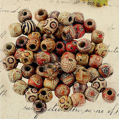 100pcs 9*10mm Mixed Round Wooden Beads Jewelry Making Loose Spacer Charms Craft