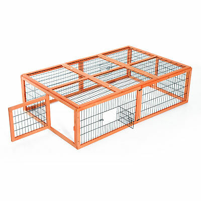 """68""""L x 43""""W Wood Rabbit Hutch Bunny Rabbit Run Chicken Coop Outdoor Poultry Cage"""