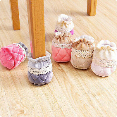 4Pc Non-slip House Furniture Chair Table Leg Foot Cover Floor Protectors Padded