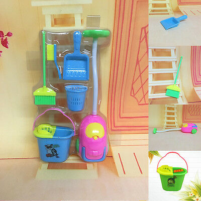 6Pcs Baby Home Furniture Furnishing Cleaning Cleaner Toy For Barbie Doll House