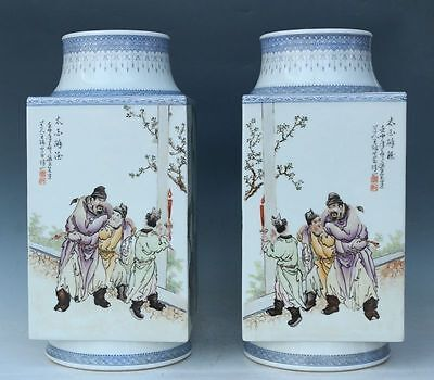 Exquisite Hand-painted Chinese ancient characters Porcelain bottle vase A pair