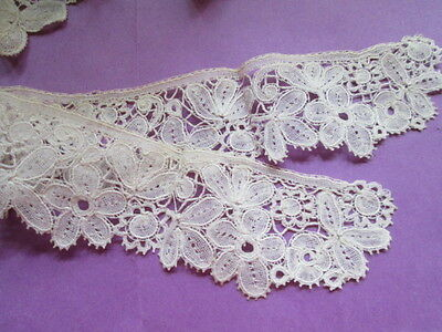 Antique  handmade  lace collars from off white cotton Brugge lace-2 pieces