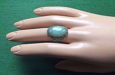 Antique CHINESE Green JADE RING Silver Plated Brass Filigree Adjustable Ring