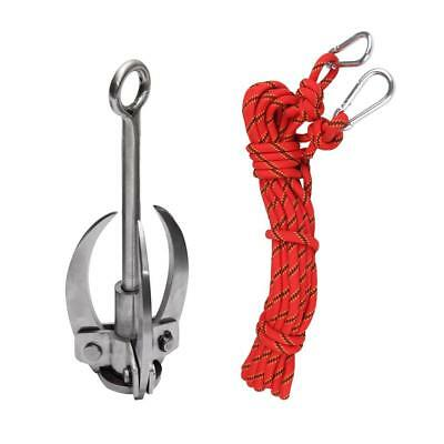 10m Safety Climbing Rappelling Rope Cord + Folding Steel Grappling Hook