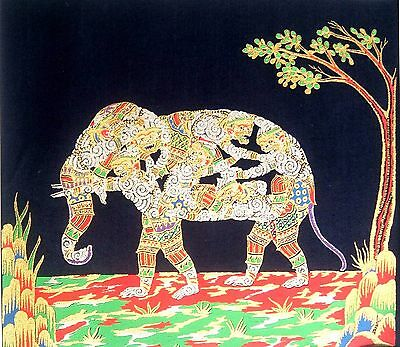 Thai Traditional Painting Art of Hanuman Elephant Classic Style Collectible Rare