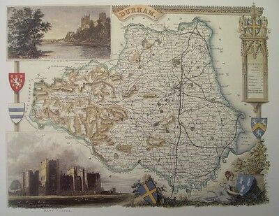 Durham Repro 1830 Thomas Moule map County Maps of Old England Gift