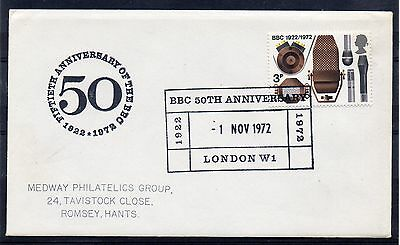 """GB = 1972 Special Event cover """"50th Anniversary of the BBC, LONDON""""."""