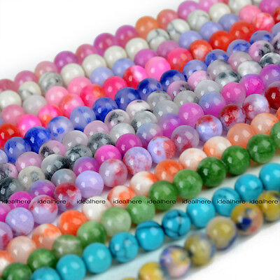 Natural Stone Round Beads Charming Opal Agate Quartz Crystal Loose Spacer 6mm