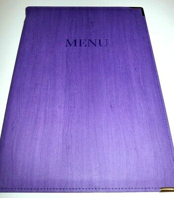 Qty 10(ten)NEW -- A4 P U MENU COVER IN WOOD EFFECT - PURPLE LOOK.fixed with gold