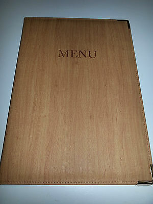 Qty 10(ten)- A4 PU MENU COVER IN WOOD - RED MAHOGANY LOOK.fixed with gold chord