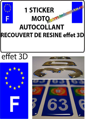 1 sticker plaque immatriculation MOTO DOMING 3D RESINE FRANCE F