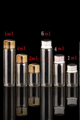 Empty Mini Clear Glass Bottle Aluminum Screw Cap Container Borosilicate Vial