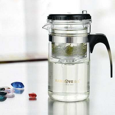 Useful Glass Tea Pot with Stainless Infuser for Home Cafe Restaurant Use