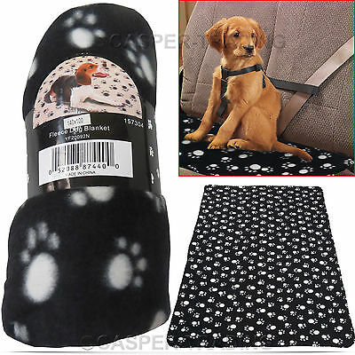 Large Soft Fleece Pet Blanket Home Car Mat Paw Print Design Warm Dog Cat Animal