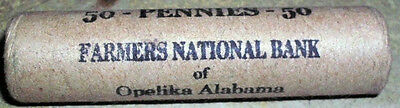 Unopened Shotgun Sealed Farmers National Bank Lincoln Wheat Cent Penny Roll