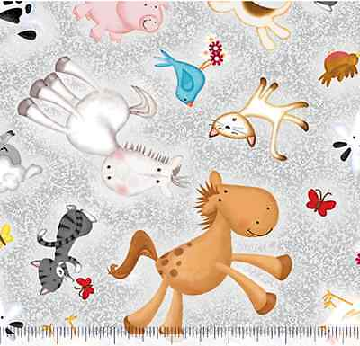 Animal Farm Pig Sheep Cow Horse Cat Grey 100% cotton quilting fabric by the yard