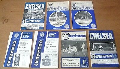7x Chelsea - Collection of European Home Programmes, 1965-71.