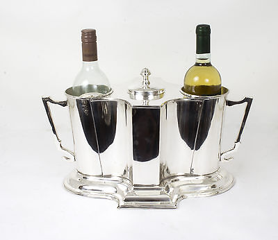 Art Deco Style Silver Plated 2 Bottle Wine Cooler Ice Bucket