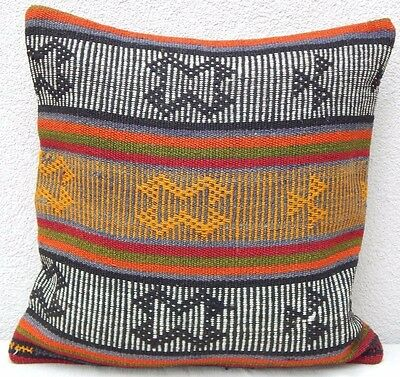 16x16 inch Aztec Pattern Vintage Turkish Handwoven Boho Kilim Rug Pillow Cover