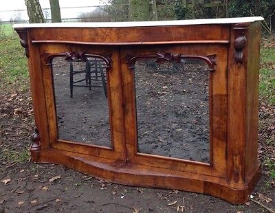 Victorian Antique Credenza Walnut Side Cabinet Marble Top Console Table