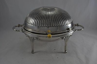 Antique Edwardian Epns Silver Plated Rollover Breakfast / Bacon Dish