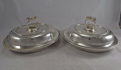 Pair Antique Victorian Epns Silver Plated Oval Floral Engraved Entree Dishes