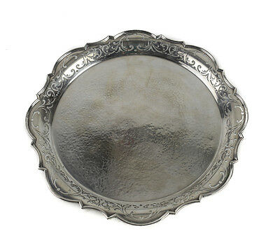 Mappin & Webb London Sterling Silver Hand Hammered Salver Serving Tray, 1906